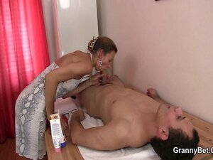 Old masseuse takes it hard from behind
